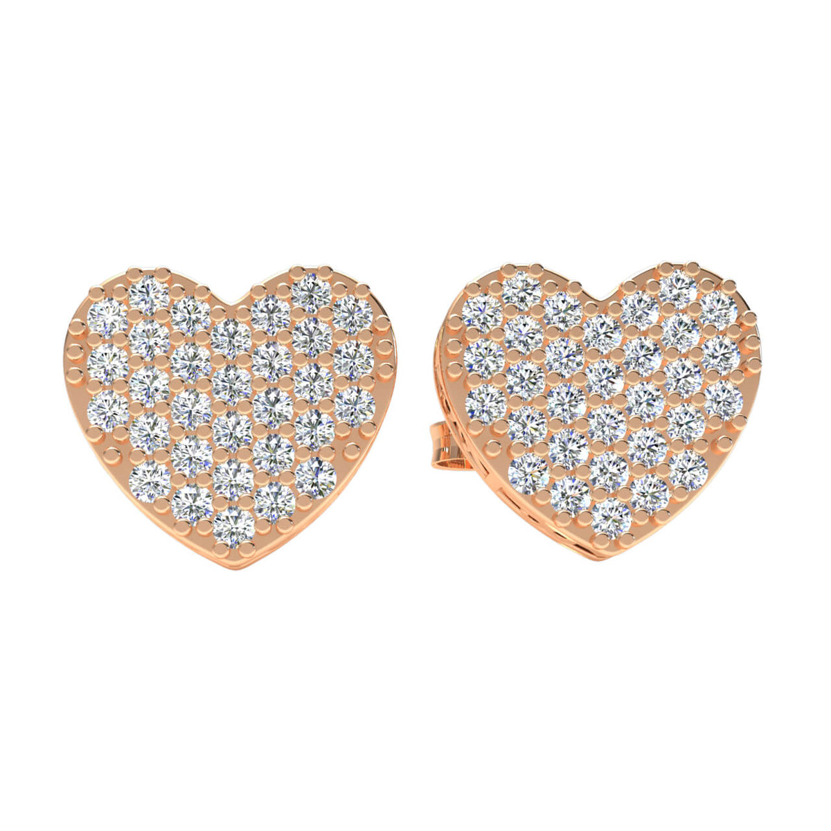 0.15 Ct Heart Gallery Round H SI2 Diamond Stud Earrings 10k Gold