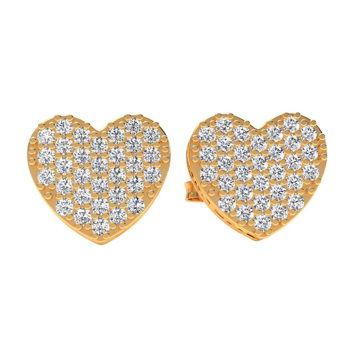 0.15 Ct Heart Gallery Round GH I1-I2 Diamond Stud Earrings 925 Sterling Silver
