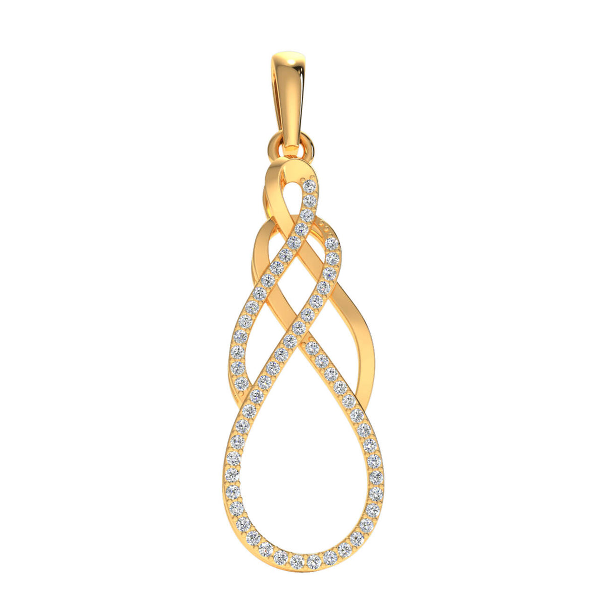 0.25 Ct Infinity Round GH SI2 Diamond Fancy Pendant For Women 14k Gold