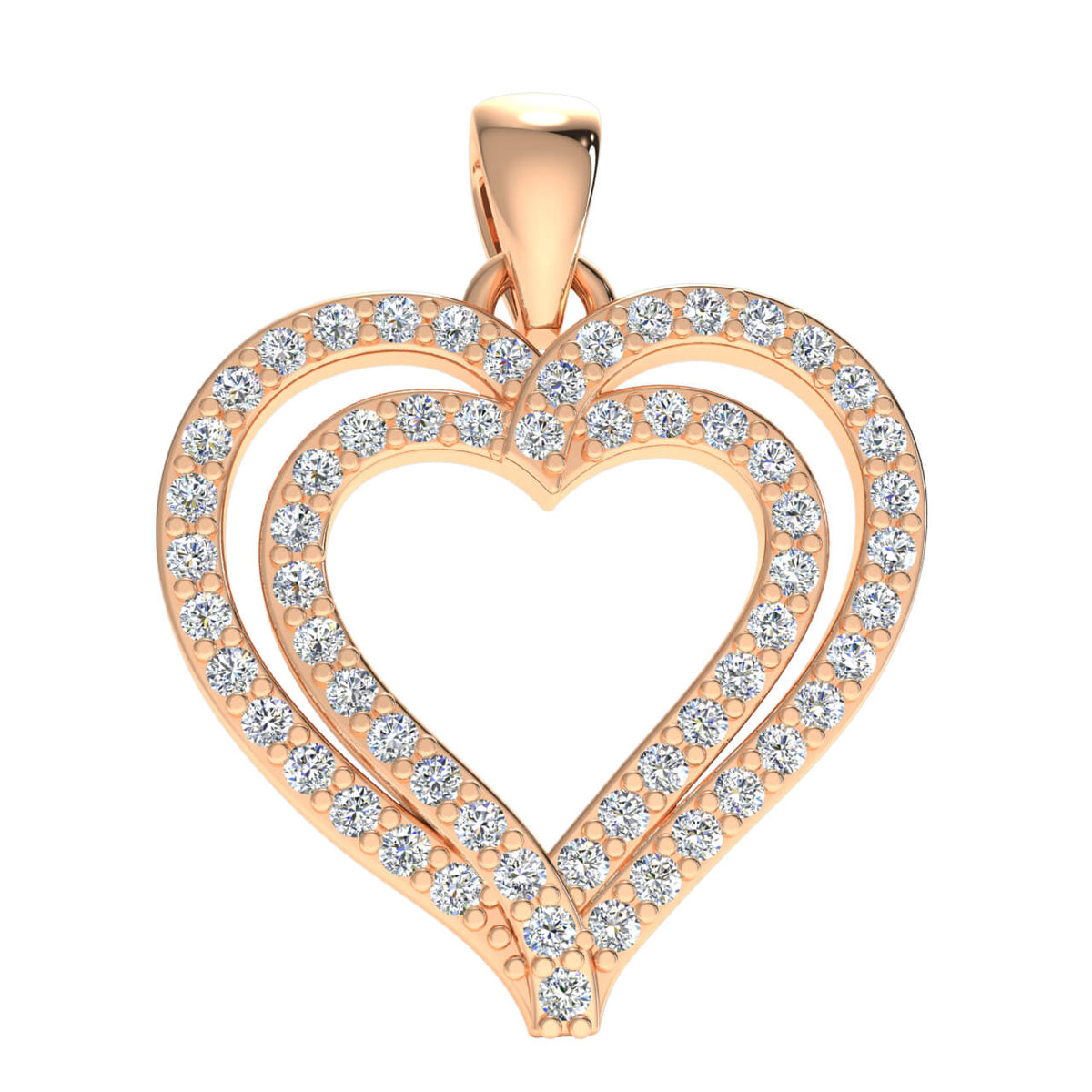 0.27 Ct Drop Heart Pendant For Women Round H SI2 Diamond 10k Gold
