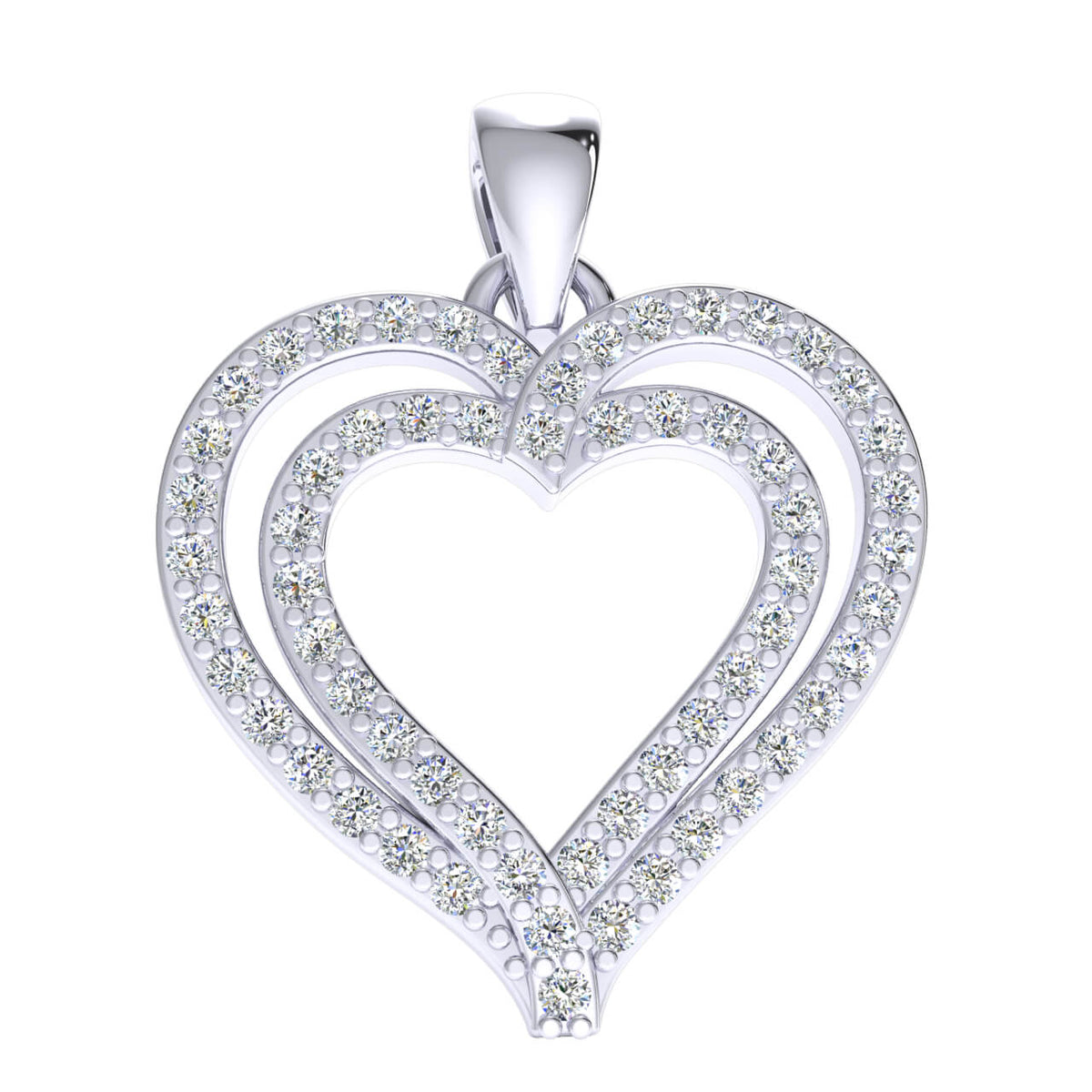 0.27 Ct Drop Heart Pendant For Women Round GH I1-I2 Diamond 925 Sterling Silver