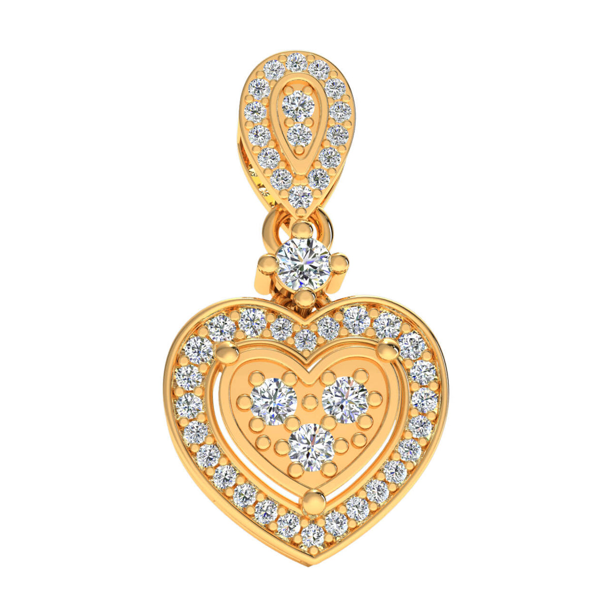 0.33 Ct Round GH I1-I2 Diamond Elegant Fancy Heart Pendant 925 Sterling Silver