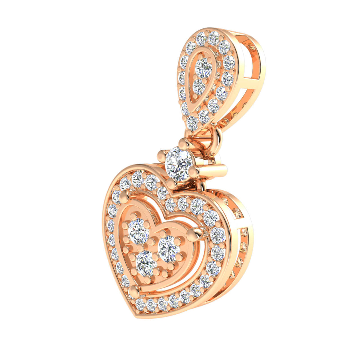 0.33 Ct Round GH SI2 Diamond Elegant Fancy Heart Pendant 14k Gold