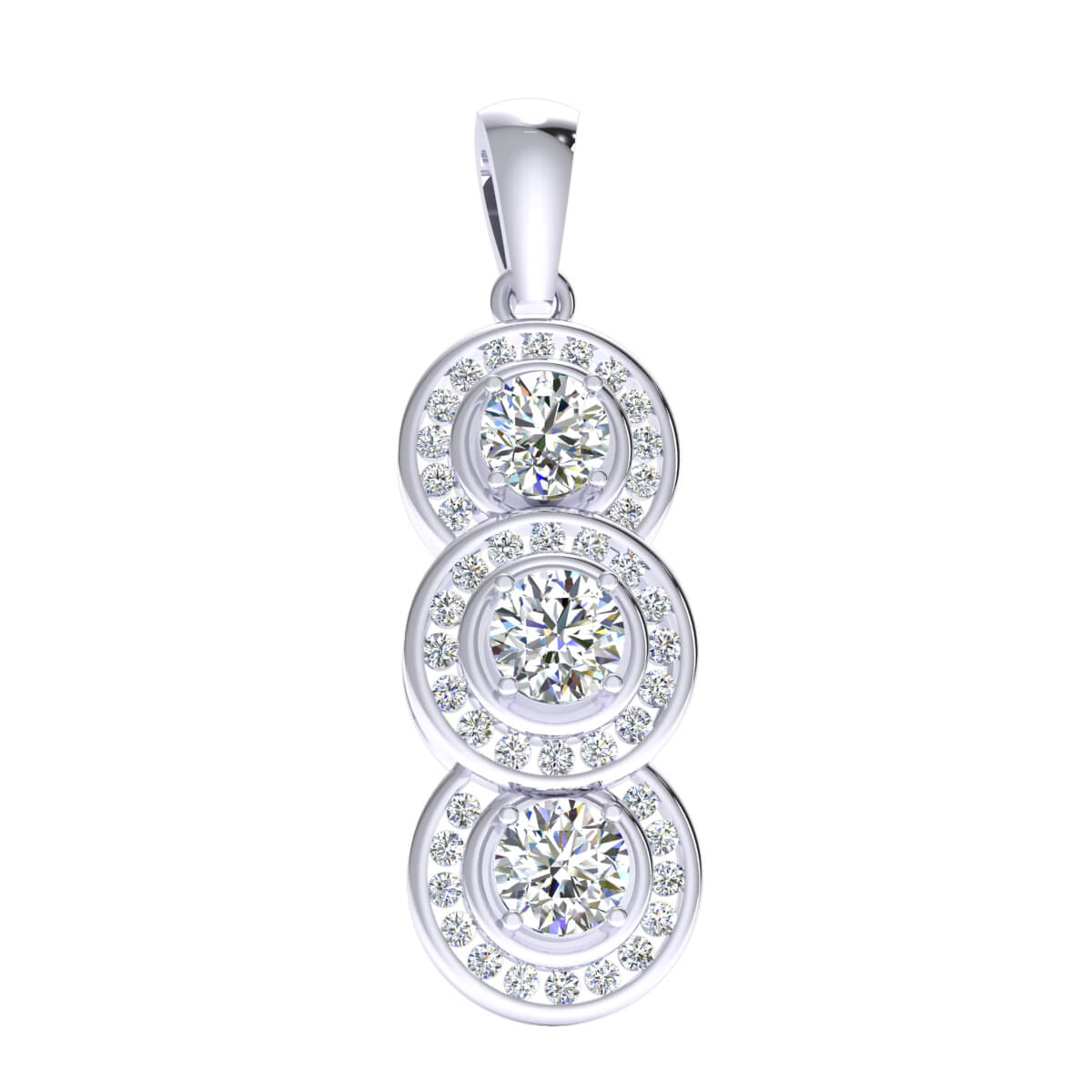 2.00 Ct Natural IJ SI2 3-Stone Halo Pendant 10k Gold