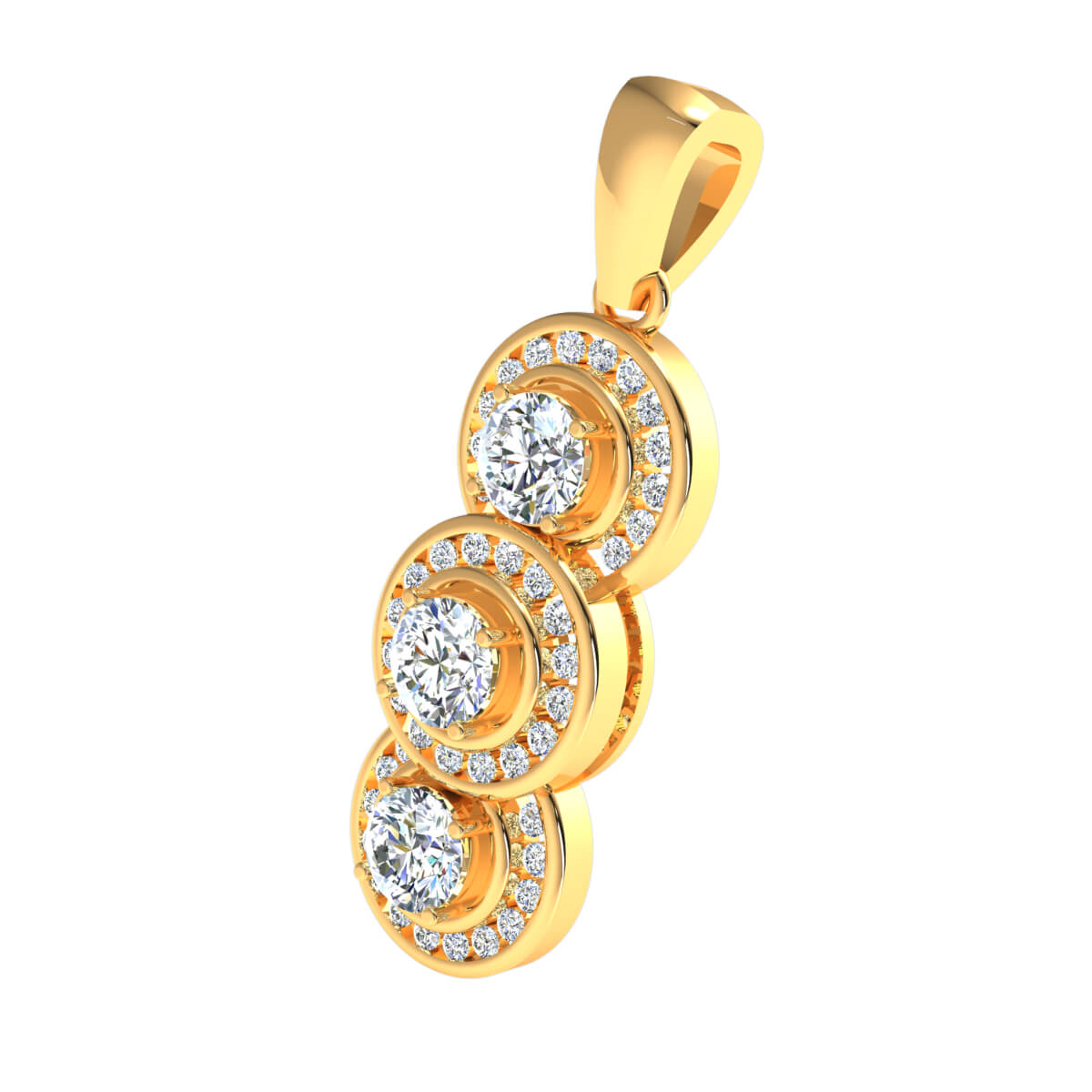 2.00 Ct Natural GH SI1 3-Stone Halo Pendant 14k Gold