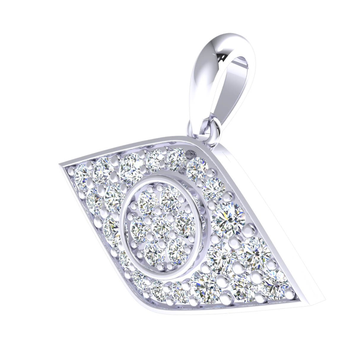0.80 Ct Natural IJ SI2 Evil Eye Drop Pendant 10k Gold