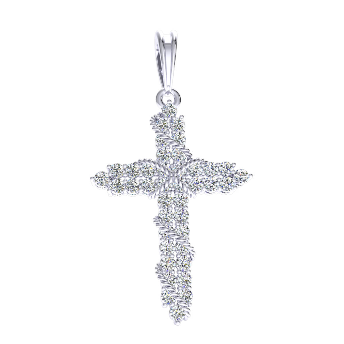0.60 Ct Natural GH I1-I2 Rope Cross Religious Pendant 925 Sterling Silver