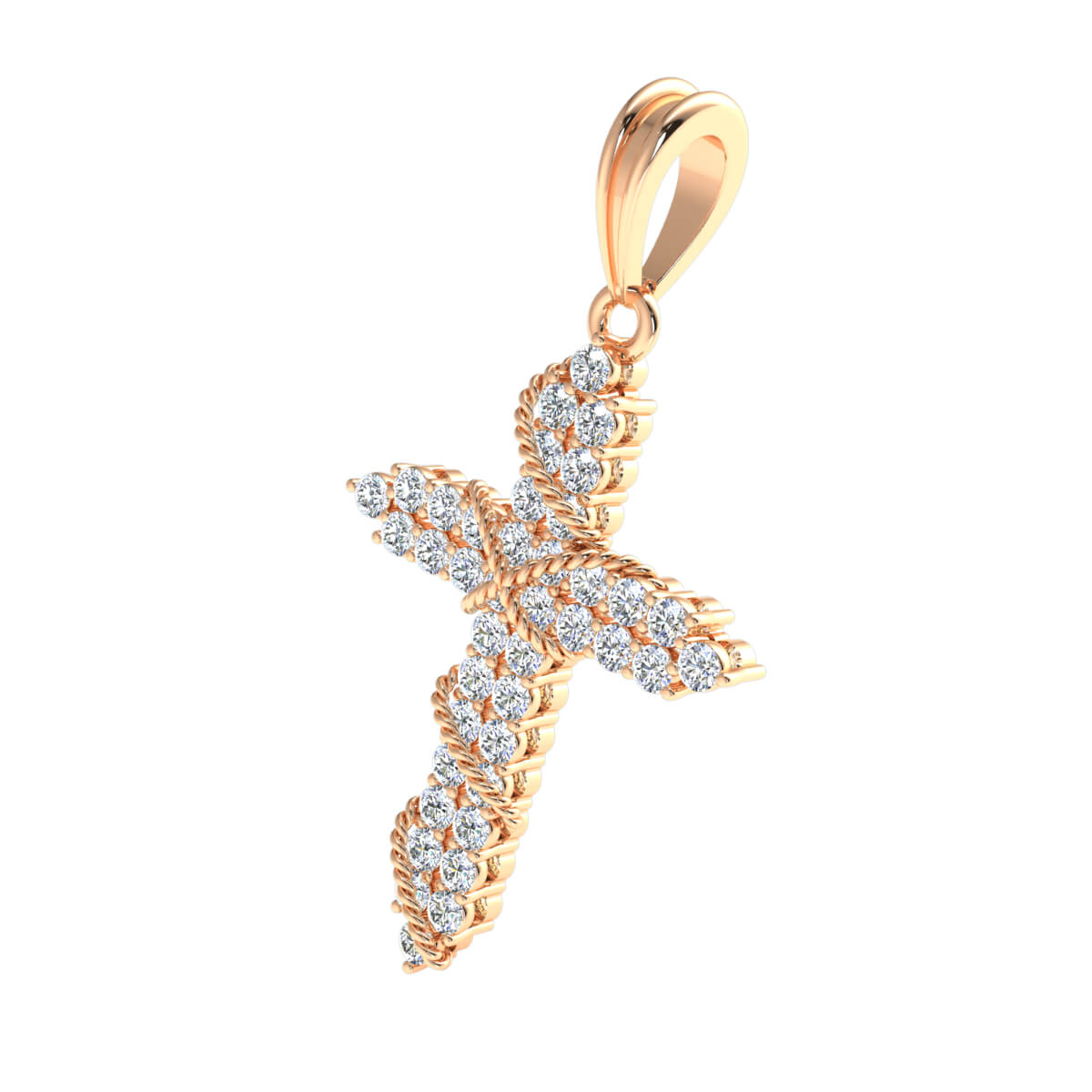 0.60 Ct Natural IJ SI2 Rope Cross Religious Pendant 10k Gold