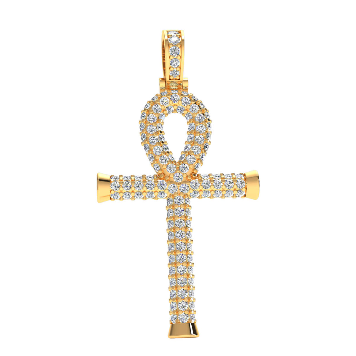 0.80 Ct Round GH I1-I2 Diamond Drop Cross Religious Pendant 925 Sterling Silver