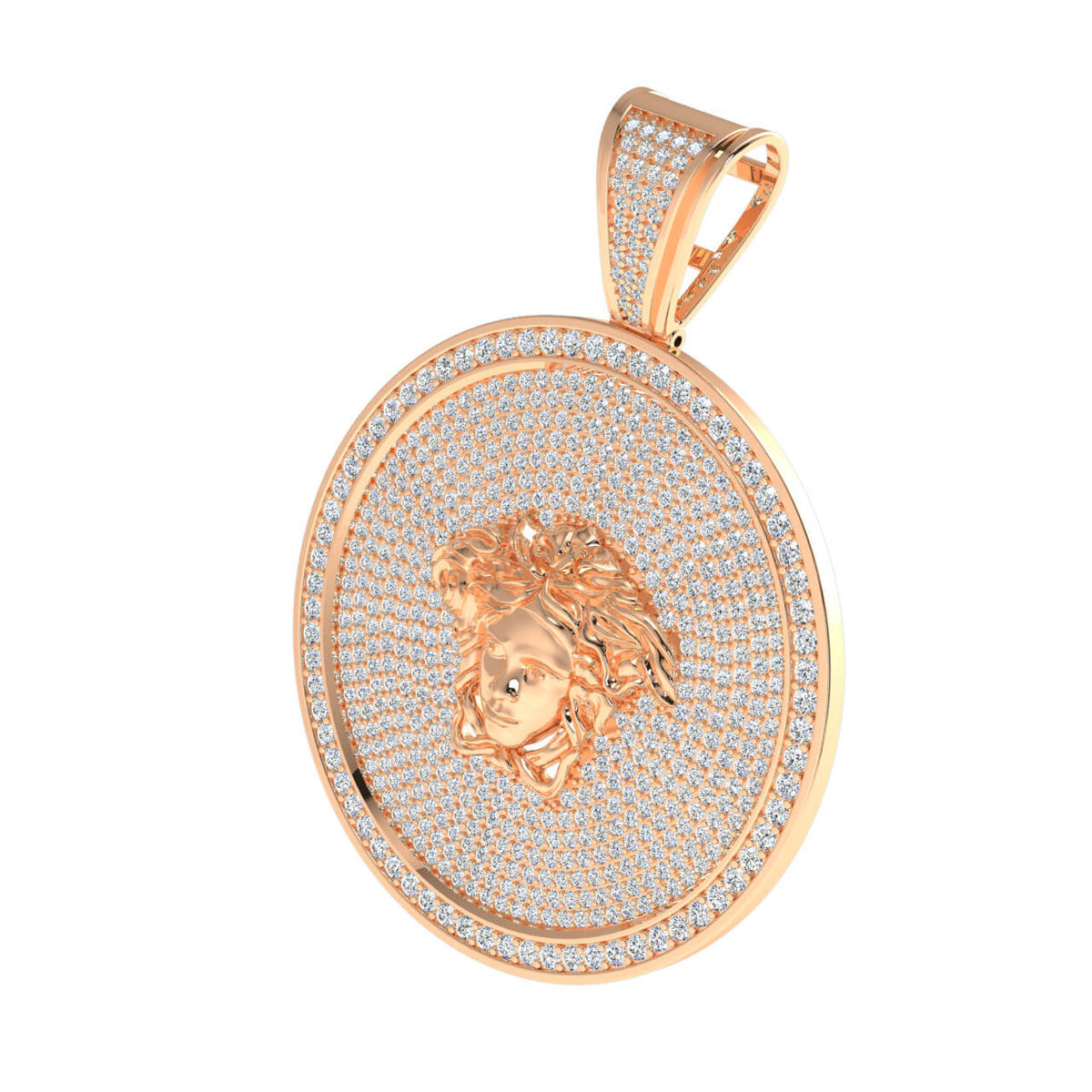 4.33 Ct Medusa Pave Round GH SI1 Diamond Circle Pendant For Adults 14k Gold