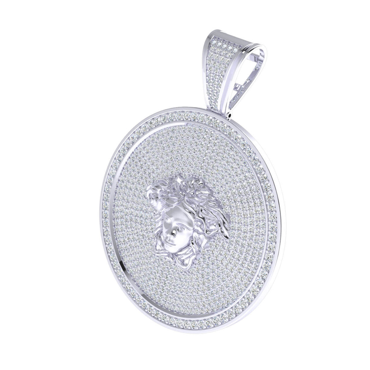 4.33 Ct Medusa Pave Round H SI2 Diamond Circle Pendant For Adults 10k Gold