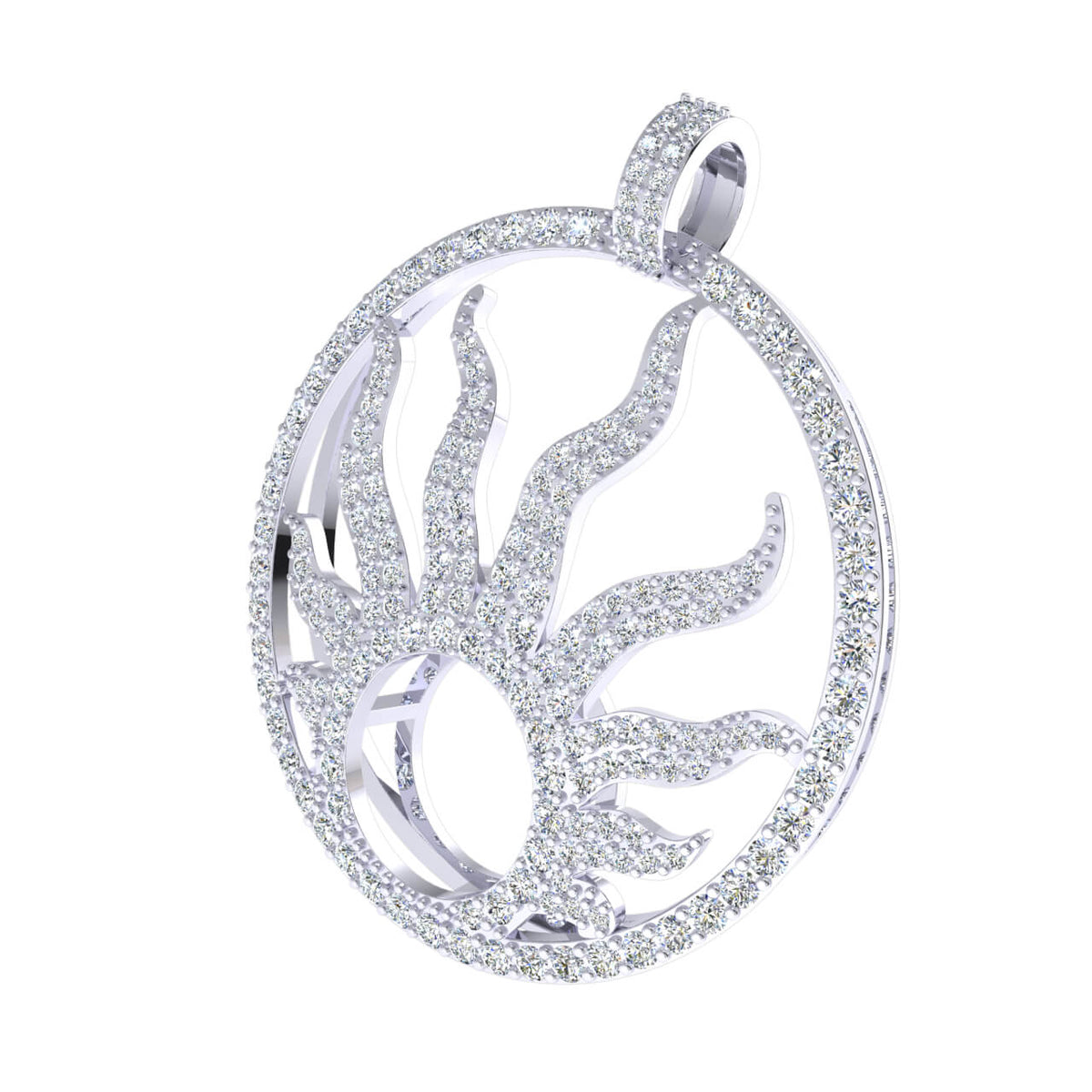 2.00 Ct Sun Flame Fancy Round H SI2 Diamond Unisex Circle Pendant 10k Gold