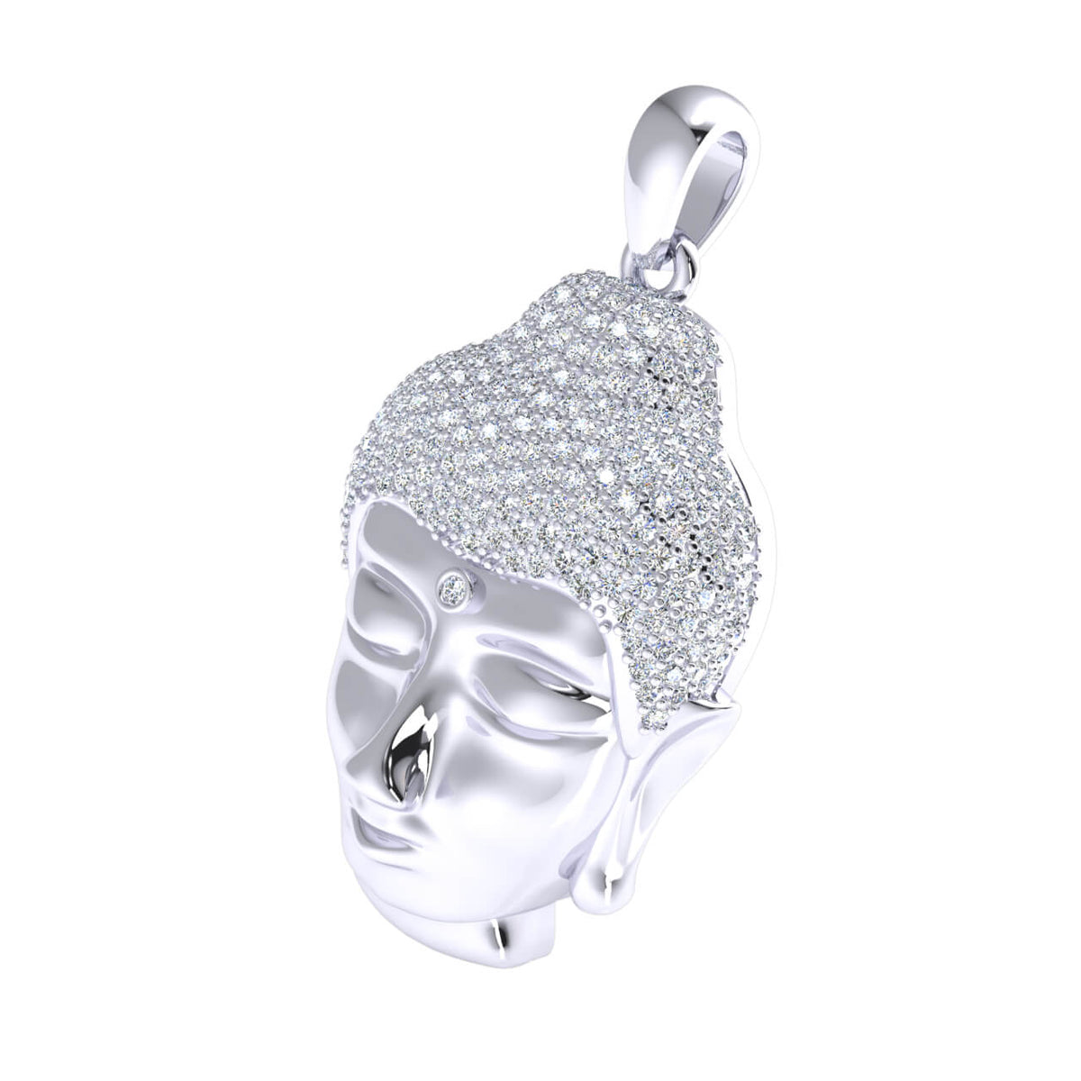 1.80 Ct Buddha Round H SI2 Diamond Charm Pendant For Adults 10k Gold