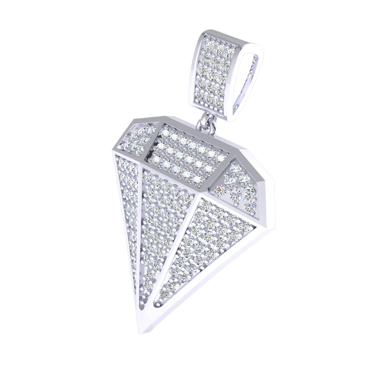 0.60 Ct Round H SI2 Diamond Cluster Drop Fancy Pendant 10k Gold