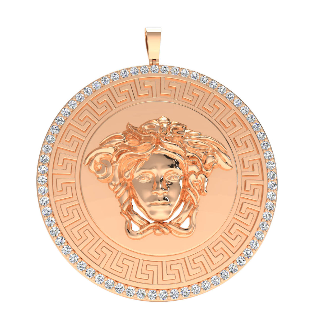 0.90 Ct Medusa Fancy Round H SI2 Diamond Unisex Circle Pendant 10k Gold