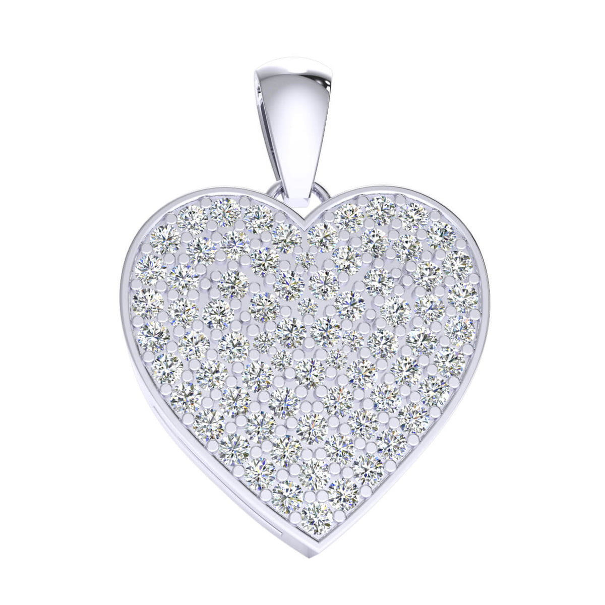 1.50 Ct Drop Heart Pendant For Adults Round GH SI2 Diamond 14k Gold