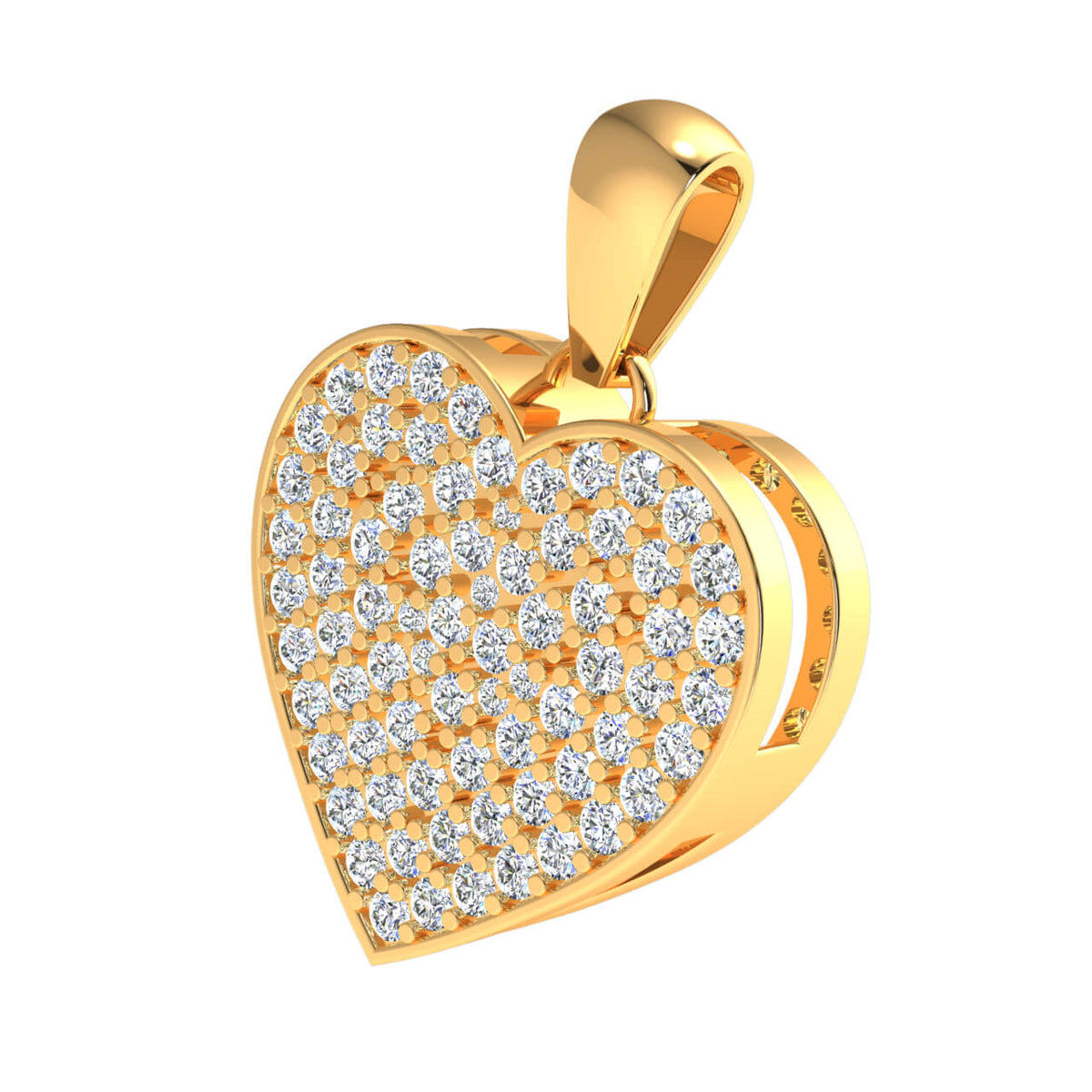 1.50 Ct Drop Heart Pendant For Adults Round H SI2 Diamond 10k Gold