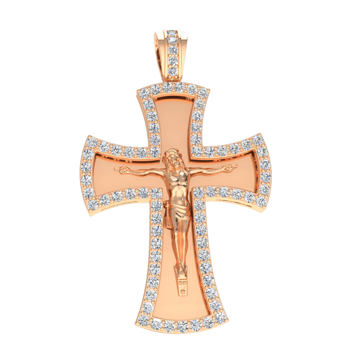 1.50 Ct Natural GH SI1 Jesus Cross Religious Pendant 14k Gold