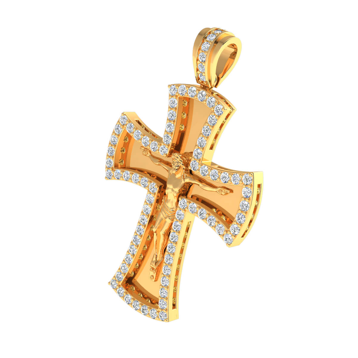 1.50 Ct Natural IJ SI2 Jesus Cross Religious Pendant 10k Gold