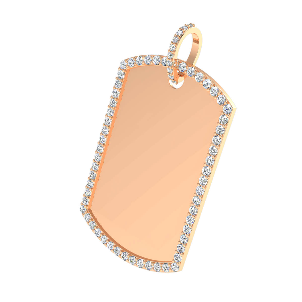1.30 Ct Natural GH SI1 Dog Tag Drop Pendant 14k Gold