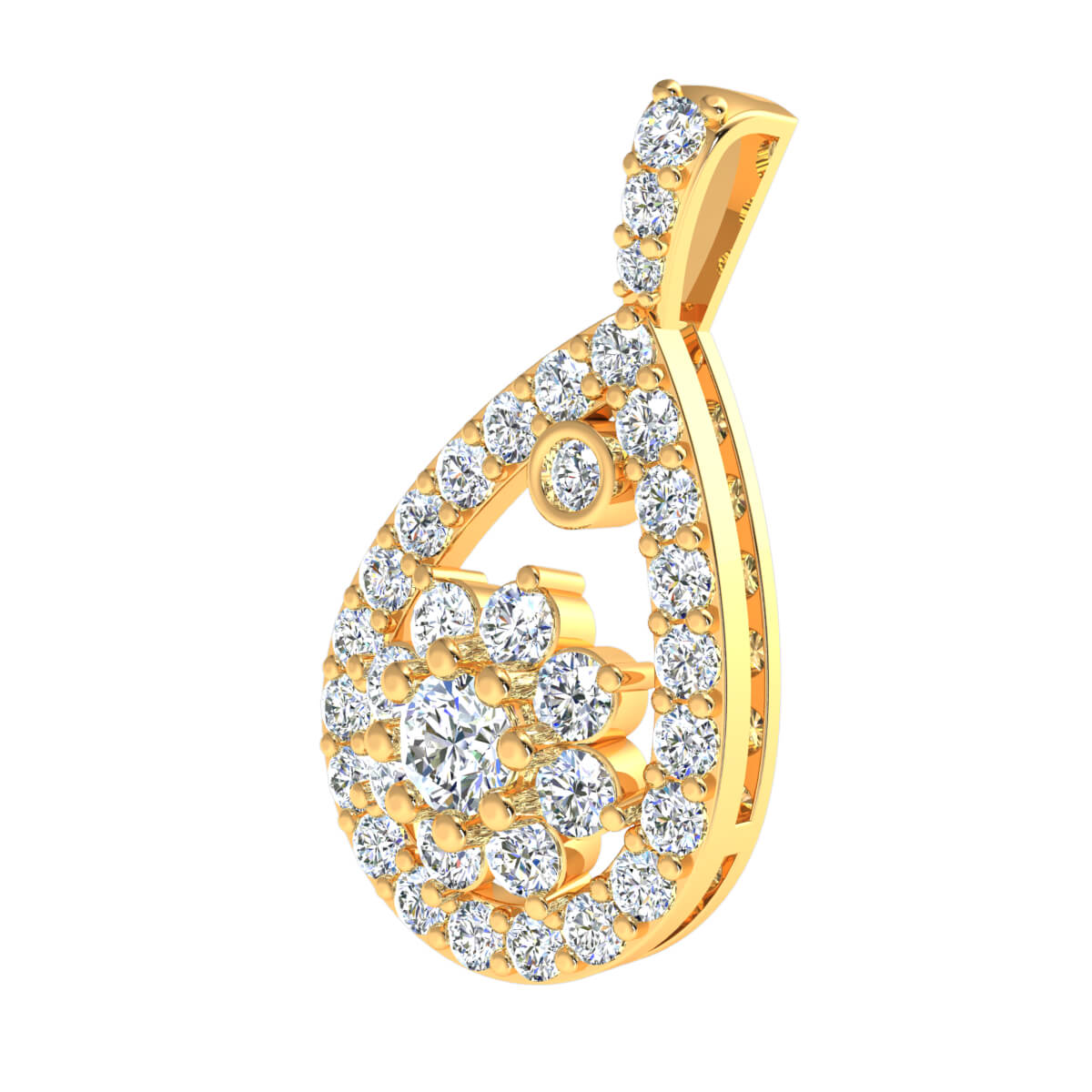 1.70 Ct Natural FG VS2 Teardrop Flower Designer Pendant 18k Gold