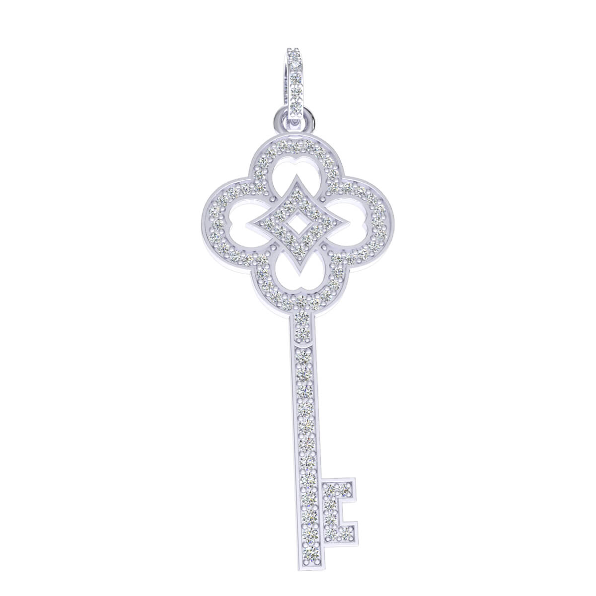 0.75 Ct Natural IJ SI2 Flower Key Drop Pendant 14k Gold