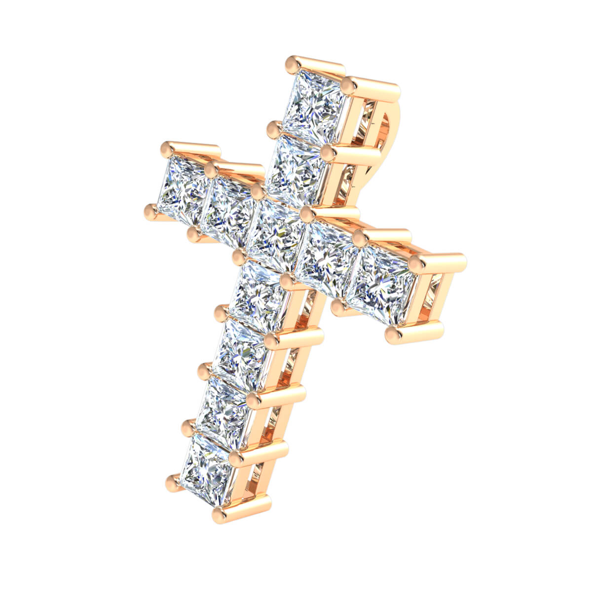 2.00 Ct Natural IJ SI2 Cross Religious Pendant 10k Gold