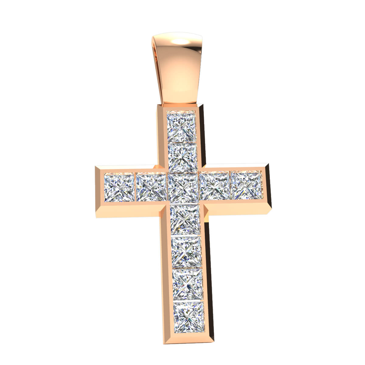 5.25 Ct Natural GH I1 Religious Cross Pendant 14k Gold
