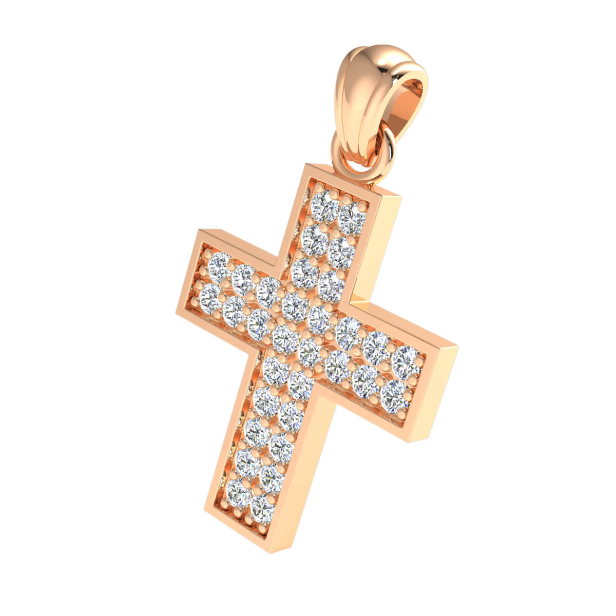 1.25 Ct Natural GH SI2 Cross Drop Pendant 14k Gold