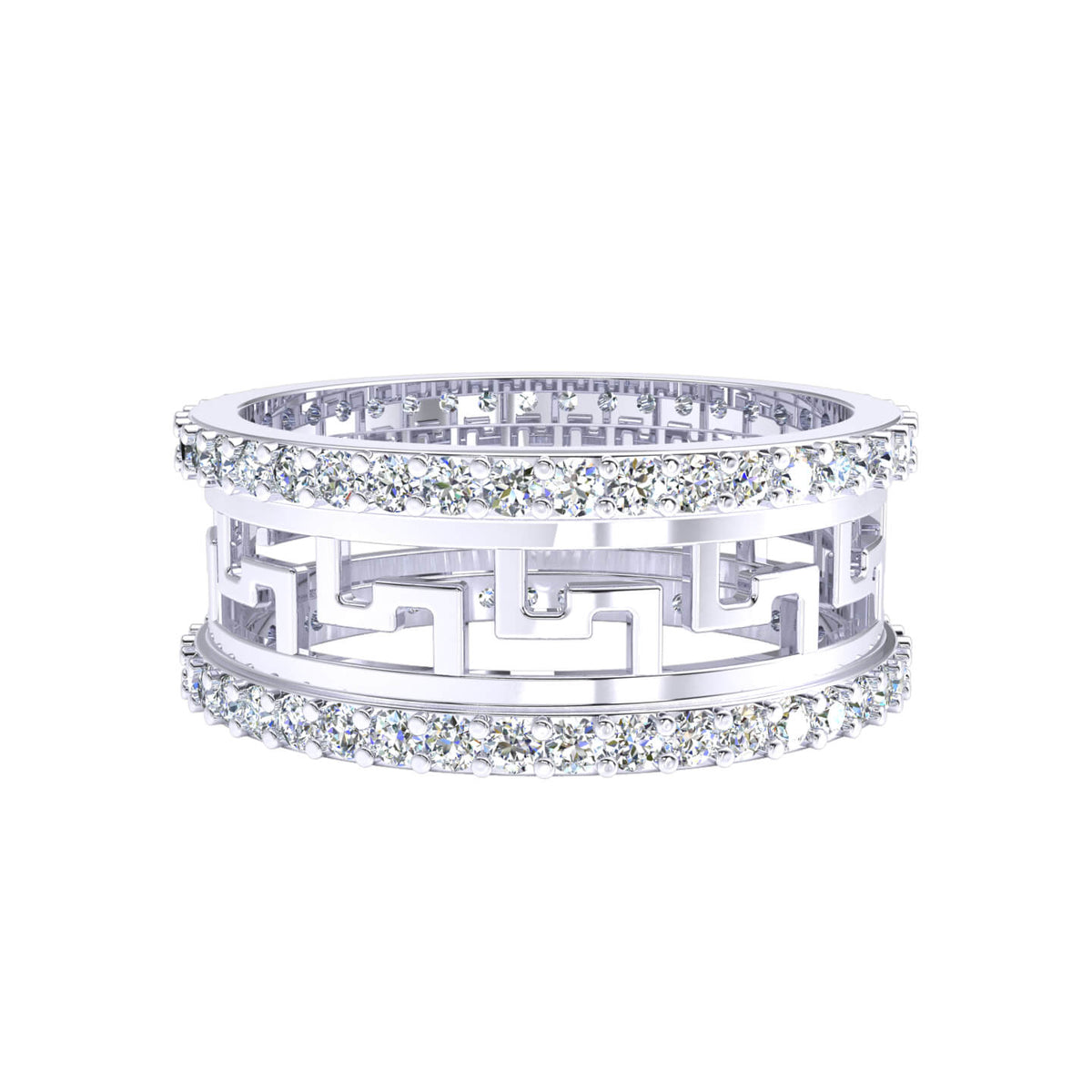 0.85 Ct Women's Round GH I1-I2 Diamond Wide Eternity Wedding Band 925 Silver