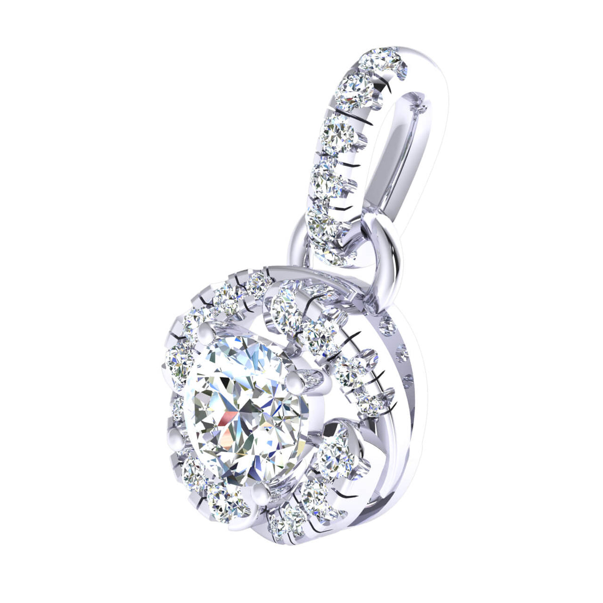 0.66 Ct Solitaire Drop Round GH SI2 Diamond Unisex Solitaire Pendant 14k Gold