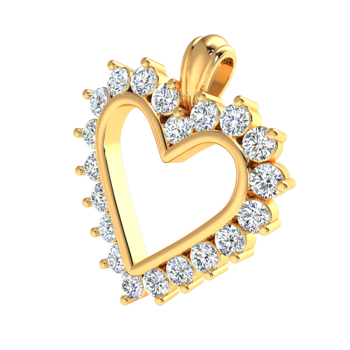0.75 Ct Natural GH SI2 Heart Drop Pendant 14k Gold
