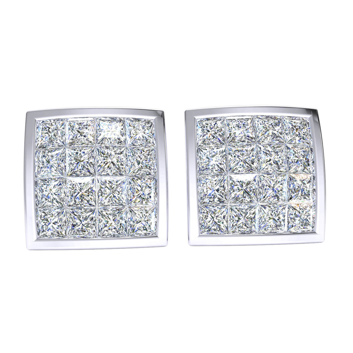 1.75 Ct Princess GH SI1 Diamond Dome Square Womens Stud Earrings 14k Gold