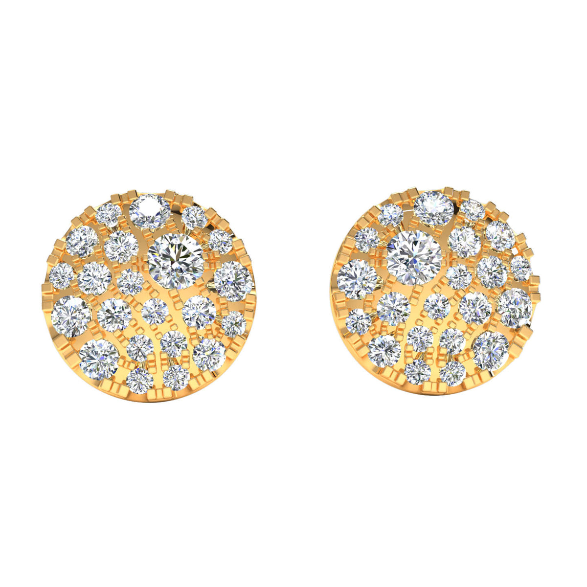 0.60 Ct Round GH SI1 Diamond Circle Womens Stud Earrings 14k Gold