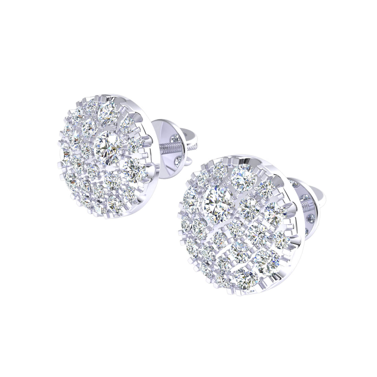 0.60 Ct Round GH I1-I2 Diamond Circle Womens Stud Earrings 925 Sterling Silver