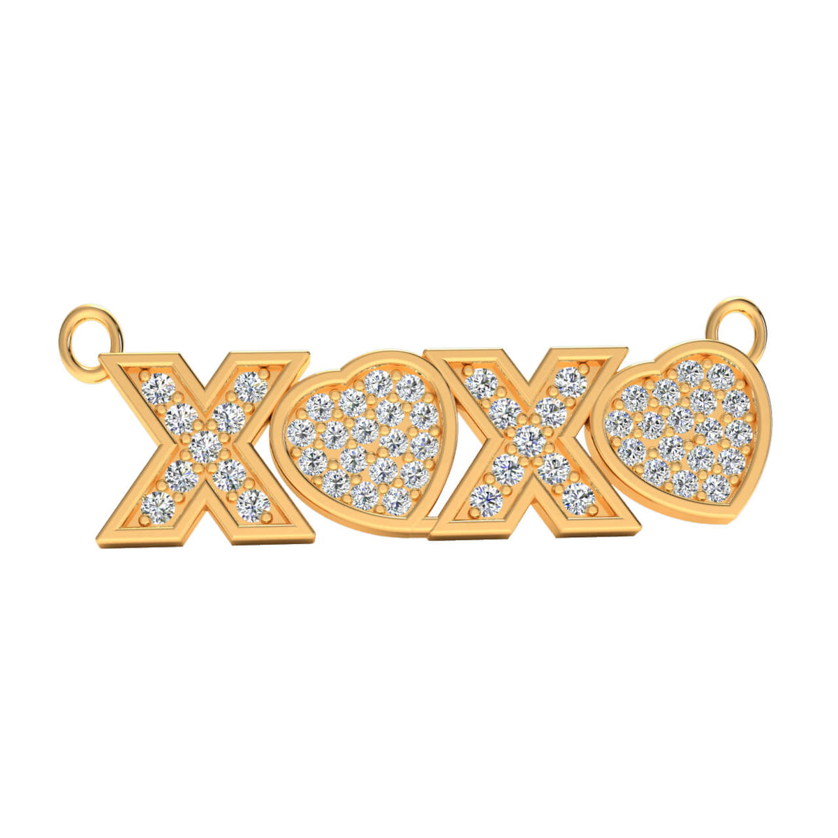 0.25 Ct XOXO' Letter Drop Round GH SI1 Diamond Unisex Initial Pendant 14k Gold