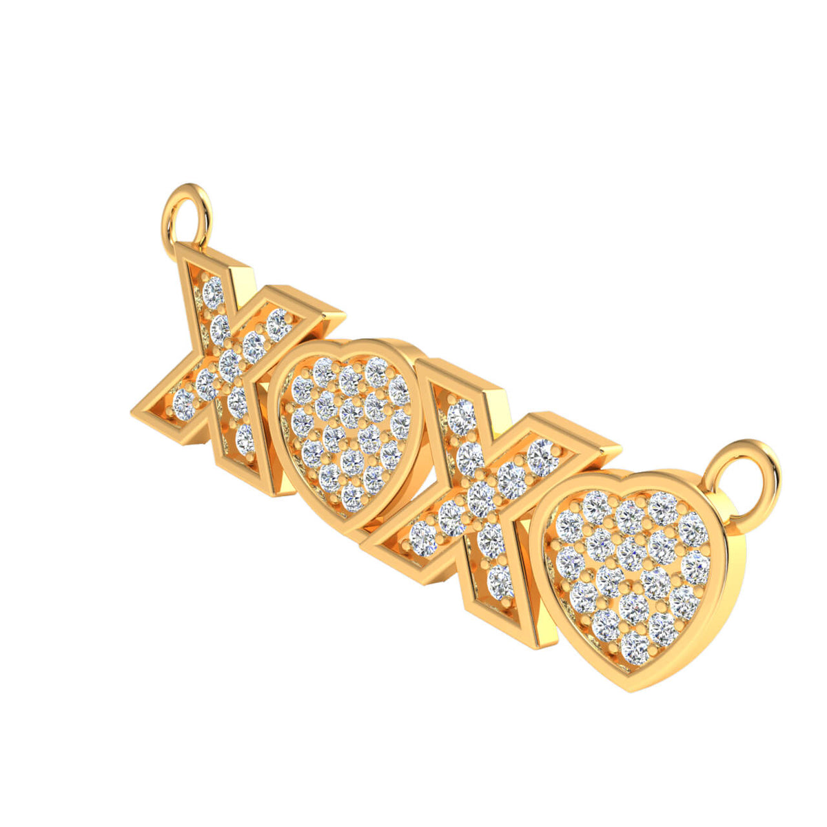 0.25 Ct XOXO' Letter Drop Round H SI2 Diamond Unisex Initial Pendant 10k Gold
