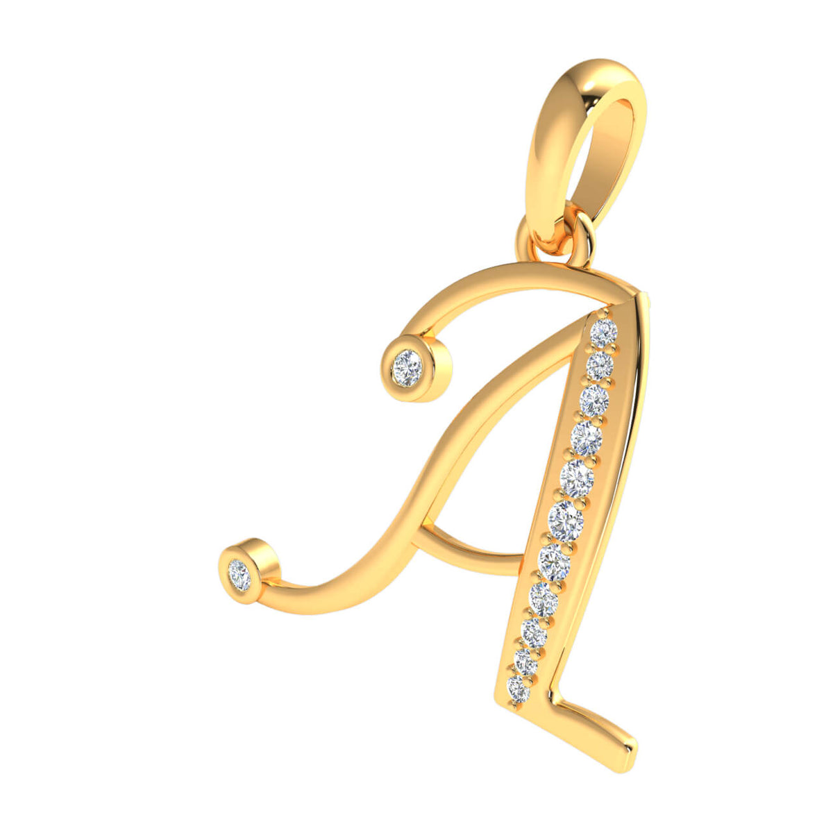 0.10 Ct A Alphabet Round H SI2 Diamond Initial Pendant For Adults 18k Gold