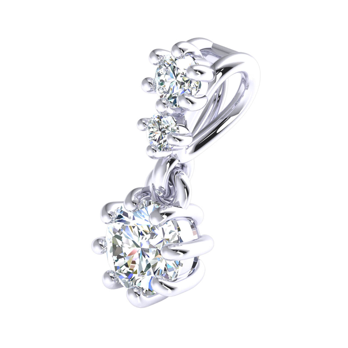 0.33 Ct 3-Stone Solitaire Pendant For Women Round GH SI1 Diamond 10k Gold