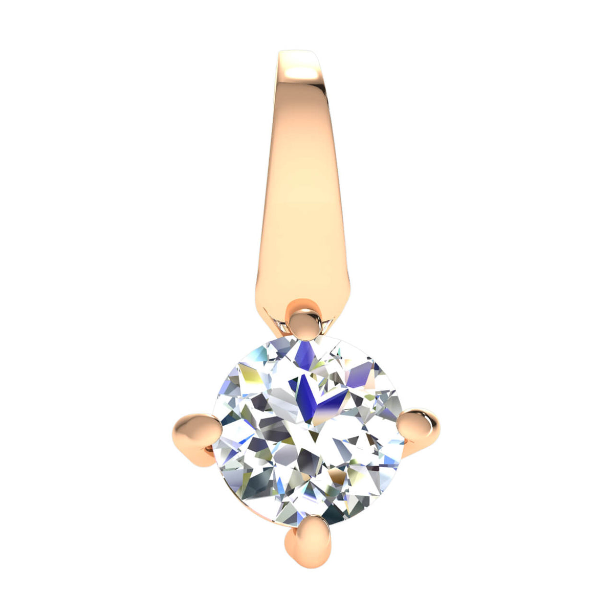 0.50 Ct Solitaire Drop Round GH SI1 Diamond Unisex Solitaire Pendant 14k Gold