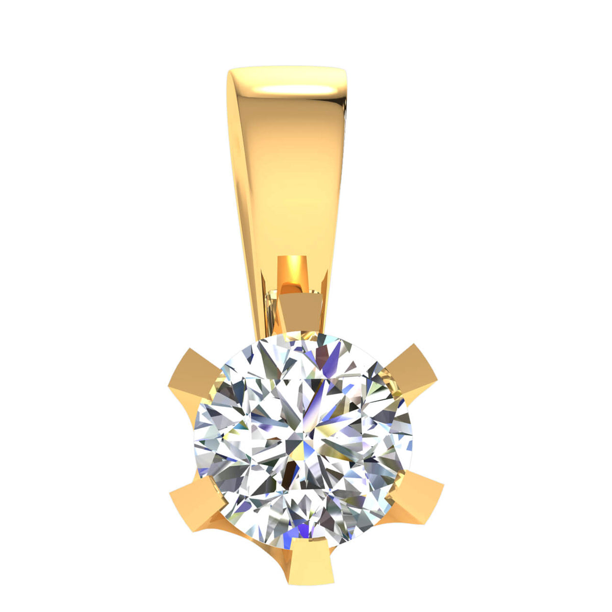 0.50 Ct 6-Prong Round FG VS Diamond Solitaire Pendant For Adults 14k Gold