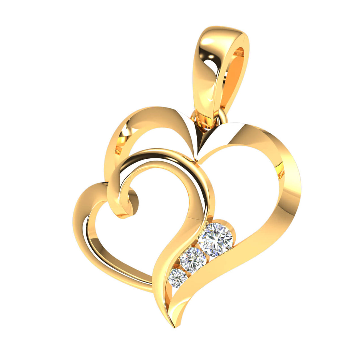 0.10 Ct 3-Stone Drop Round FG VS Diamond Unisex Heart Pendant 14k Gold