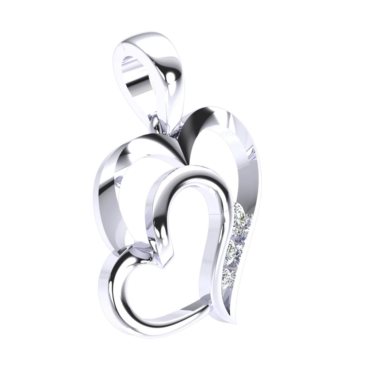 0.10 Ct 3-Stone Drop Round GH I1-I2 Diamond Unisex Heart Pendant 925 Sterling Silver