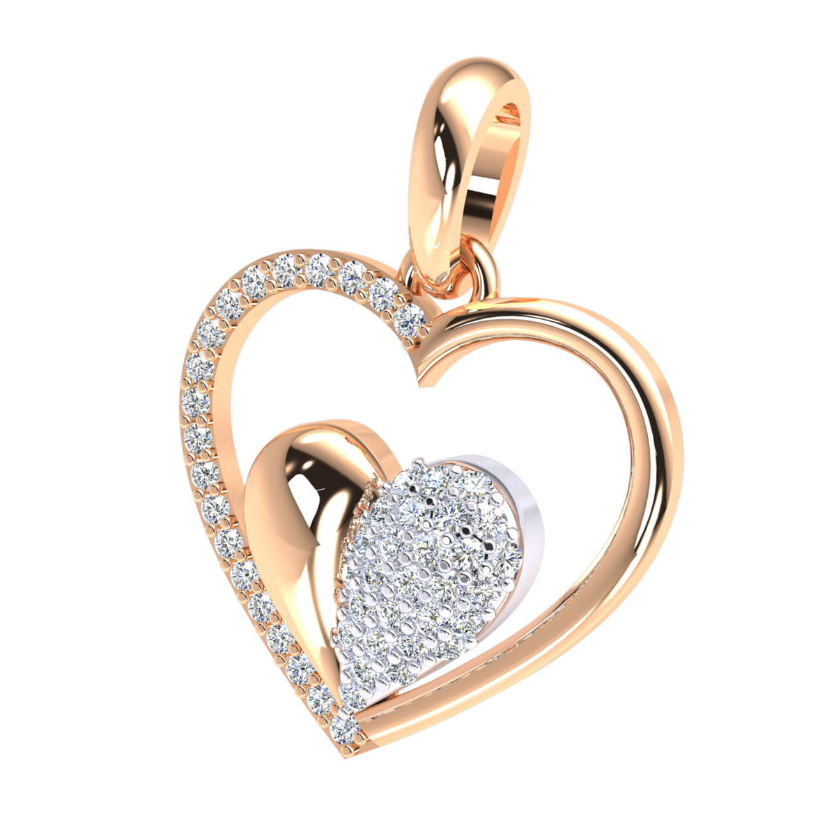 0.25 Ct Cluster Round GH I1-I2 Diamond Heart Pendant For Adults 925 Sterling Silver