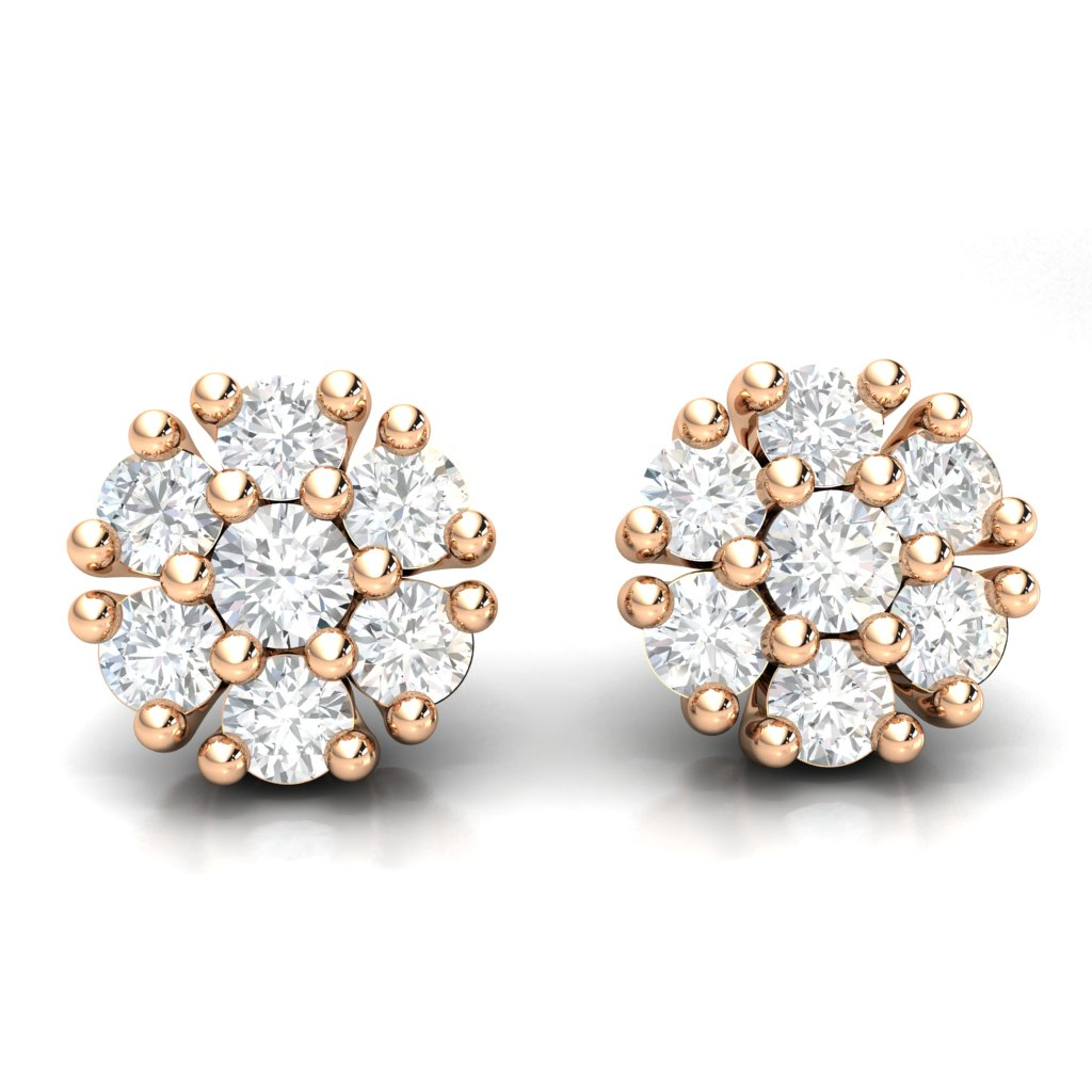 1.26ct Cluster Diamond Earrings in 14k Gold GH SI2