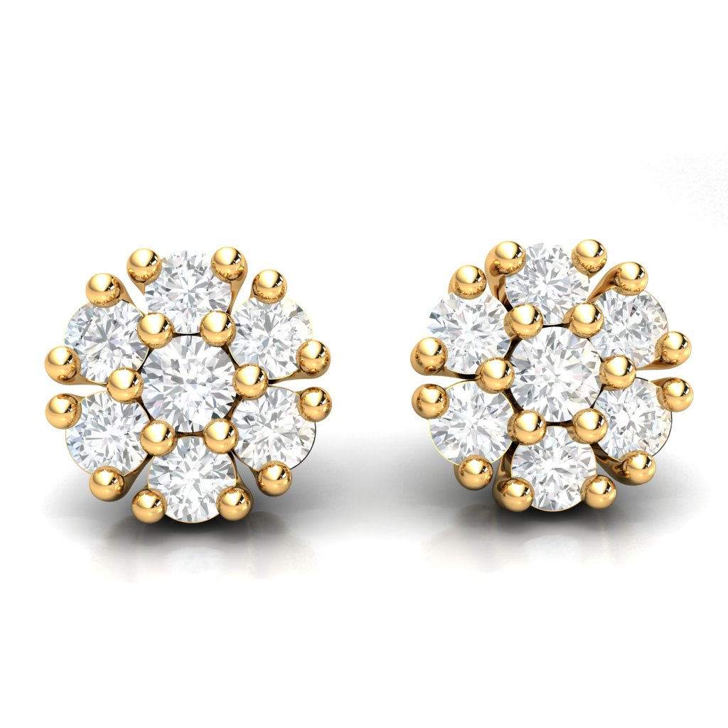 Round 0.33ct Cluster Diamond Earrings in 14k Gold J SI2
