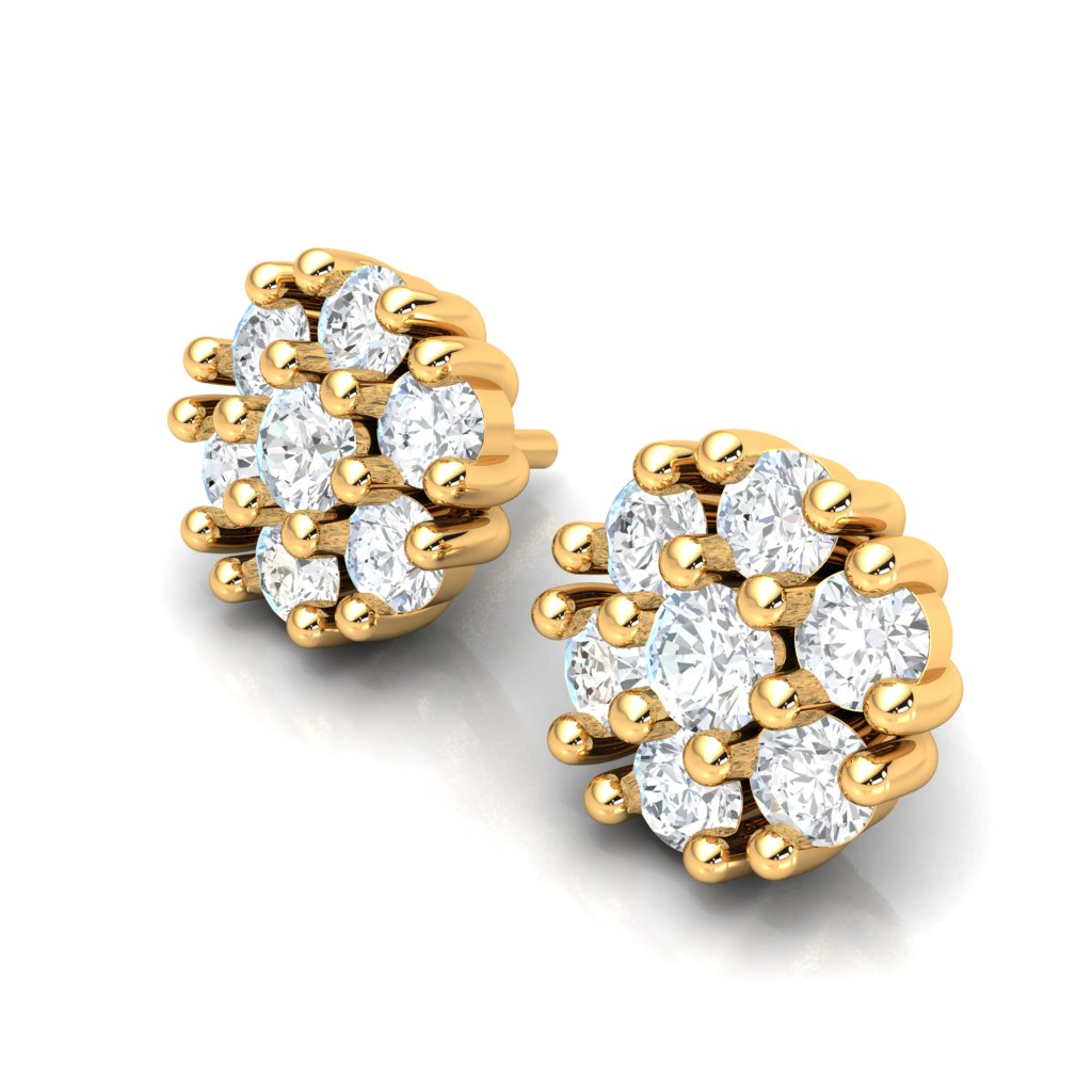 4.22ct Cluster Diamond Earrings in 14k Gold GH SI2