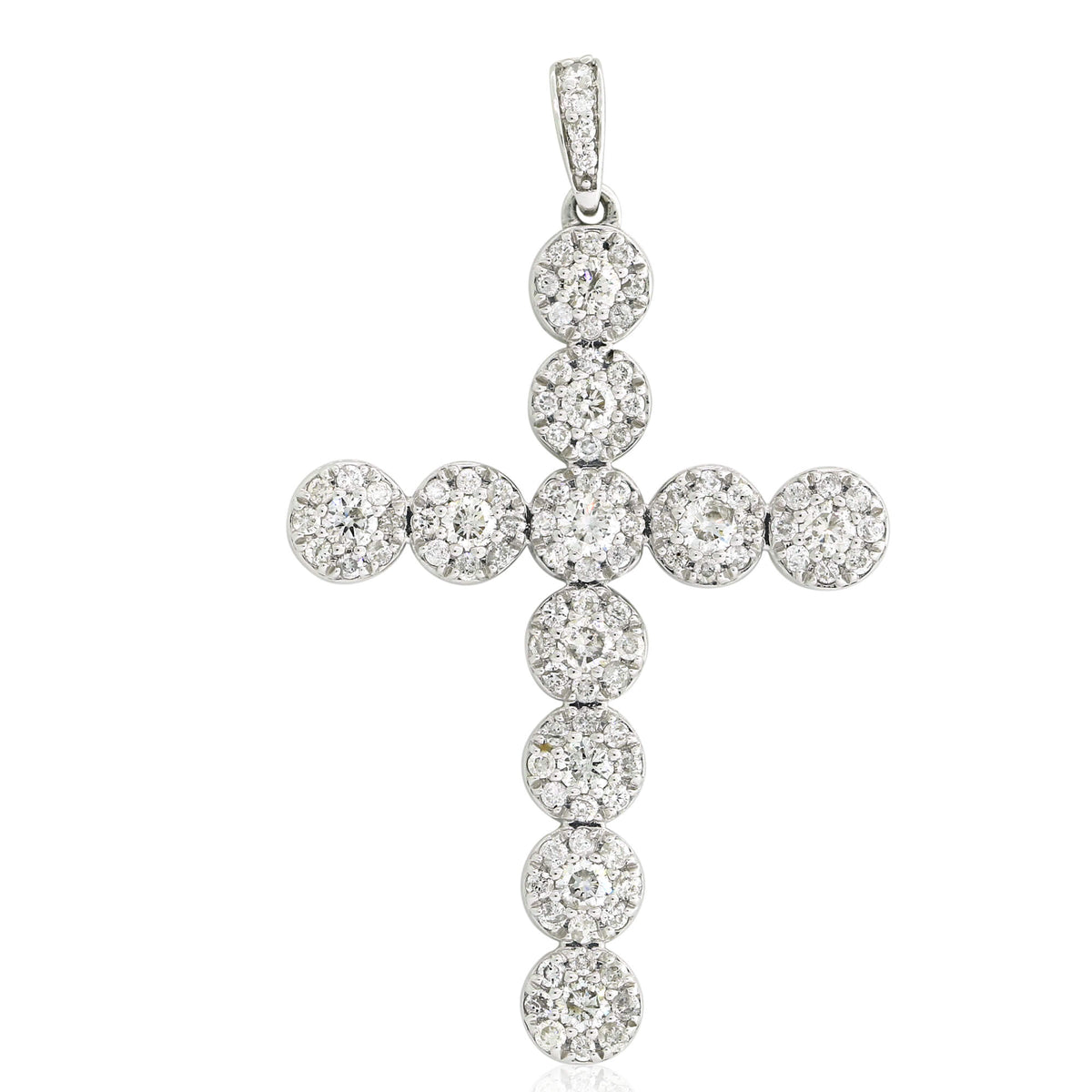 0.99 Ct Diamond Cluster Cross Pendant in 10k Gold Miché Collection