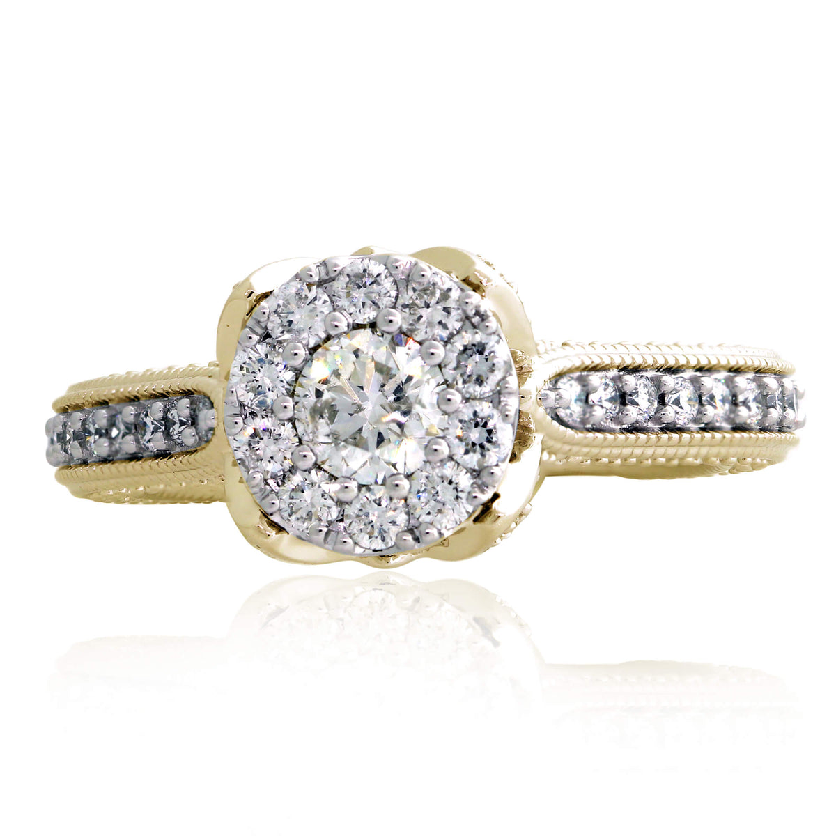 Miché Collection 1.39 Ct Diamond Halo Engagement Set in 14k Gold