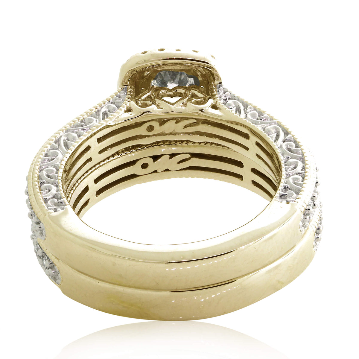 Miché Collection 0.96 Ct Vintage Diamond Halo Engagement Set in 14k Gold